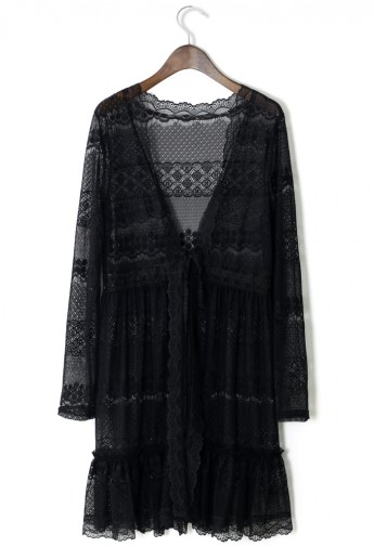 Full Lace Cardigan in  Black - Retro, Indie and Unique Fashion