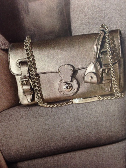 bag silver metallic handbag ralph lauren girly night out chain