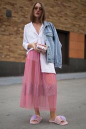 popsugar fashion,blogger,skirt,shirt,jacket,shoes,pink skirt,slippers,denim jacket,spring outfits,clutch