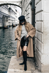coat,tumblr,camel,camel coat,oversized,masculine coat,skirt,mini skirt,black skirt,wrap skirt,leather skirt,black leather skirt,boots,black boots,over the knee boots,sweater,grey sweater,fisherman cap,hat,black hat,camel oversized coat,oversized coat