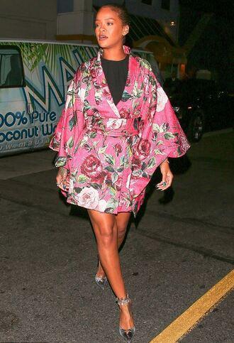 dress coat kimono pink pink dress rose rihanna mini dress pumps wrap dress