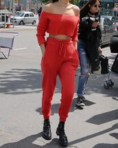 red,joggers,knitted sweater,knitwear,fendi,streetwear,all red wishlist,top,red off shoulder top,red top,crop,cropped,crop tops,long sleeves,ribbed top,pants,sweatpants,red pants,high waisted pants,boots,black boots,flat boots,necklace,off the shoulder,off the shoulder top