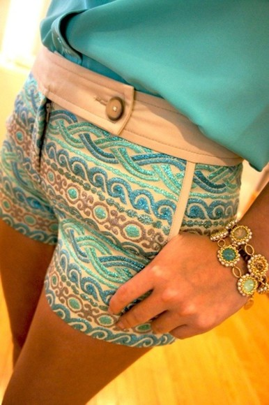 High waisted shorts shorts boho patterns shorts jewels blue multicolred button bronze stripe striped shorts pattern waves mid waisted shorts wavy fashion blue shorts teal shorts shirt cute sparkles Belt summer outfits fab