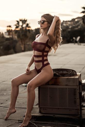 underwear lingerie strappy burgundy sexy hot