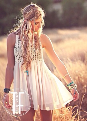 dress indie crochet bohemian hippie