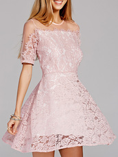 dress,dressfo,chic,lace,fashion,style,off the shoulder,embroidered,lace dress,mini dress,pink