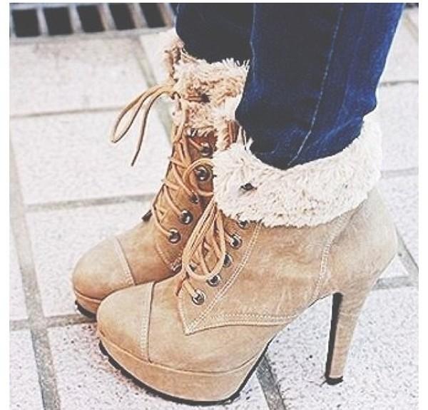 shoes high heel booties Fur tri heels booties tan tan lace up booties platform lace up boots