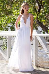 dress,white dress,white,pretty,maxi,maxi dress,front split  dress