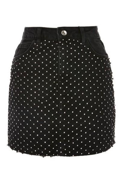 Topshop skirt denim skirt denim mini black