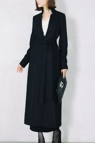 Notched Standing Collar Belted Maxi Coat - OASAP.com