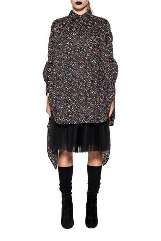 shirt floral print black top