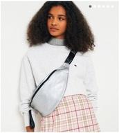 skirt,plaid,plaid skirt,top,sweater,jumper,layered,crossbody bag,bag,warm,cozy,champion
