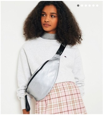 skirt plaid plaid skirt top sweater jumper layered crossbody bag bag warm cozy champion