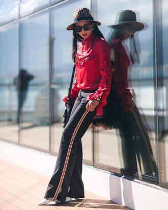 pants tumblr black pants wide-leg pants blouse red blouse red top top ruffle ruffled top hat sunglasses black sunglasses fall outfits