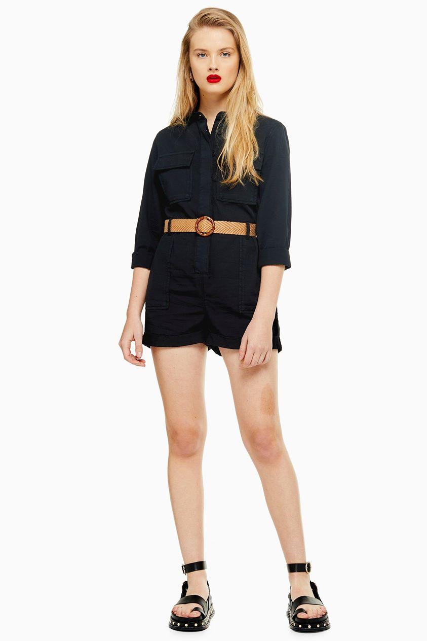 Womens Black Belted Utility Playsuit - Black