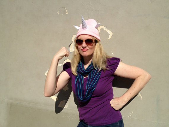 Pink Unicorn Beanie  Pink Cosplay Horn Hat  by jumbojibbles