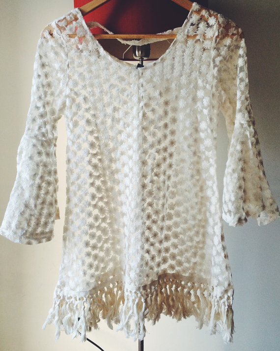 Women lace floral dress sheer lace tunic tank top crochet ivory lace top vintage lace blouse size extra small