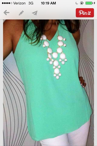blouse sea foam green tank top sea foam green tank top white jewels
