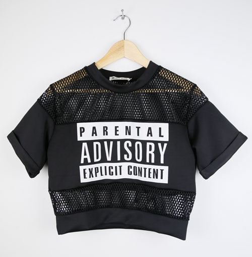 Online Shop 2014 Summer Women Parental Advisory Explicit Content Hollow Mesh Sheer Crop Top T-Shirt Black/White Tees|Aliexpress Mobile