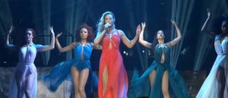 dress beyoncé concert goddess dresses goddess red dress orange dress long red dress