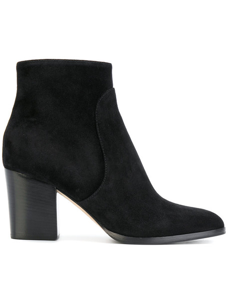 Sergio Rossi women ankle boots leather suede black shoes