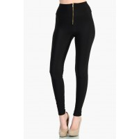 OMG Zip Up High Waist Leggings - Black