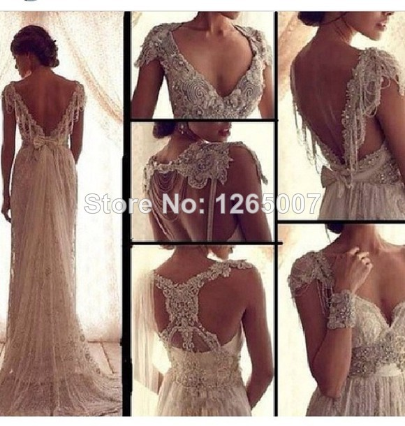 Aliexpress.com : Buy Fashion Vintage Style V Neck Sparkly Beaded Silvery Crystal A Line Open Back Fashion Glitter Wedding Dresses Elegant from Reliable wedding dress wang suppliers on SFBridal