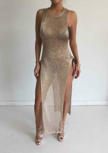 top cover up mesh top gold