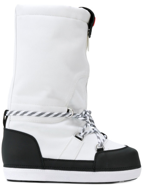 Hunter snow boots women snow leather white shoes