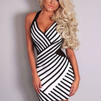 dress wots-hot-right-now black and white black and white dress plunge v neck cleavage dress halter neck stripes sexy dress sexy party dresses club dress