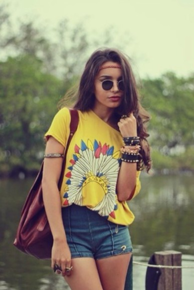 tops shirt tribal shirts graphic tees boho hippie tshirt yellow