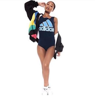 jumpsuit adidas jumpsuit navy light blue adidas bodysuit one piece swimsuit blue