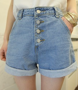 loose button vintage retro high waist finishing light color roll ...