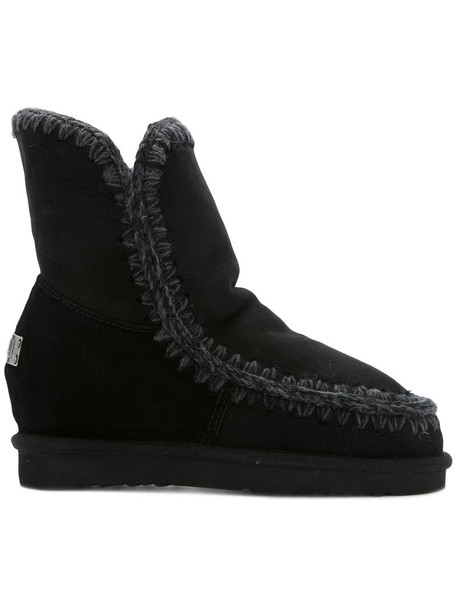 Mou wedge boots women black wool shoes