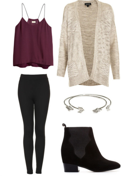tank top cardigan shirt flowy flowy top purple tank top shoes top blouse leggings spaghetti strap burgundy chic muse swimwear burgundy fall outfits fall outfits fall sweater pants maroon/burgundy black jewelry ankle boots black boots boots booties black booties chunky chunky sole red maoon cute sweater nude