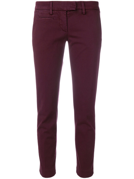 DONDUP cropped women spandex fit cotton red pants