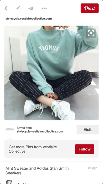 sweater crewneck crewneck sweatshirt pin stripe pants stripes stan smith outfit idea tumblr outfit green
