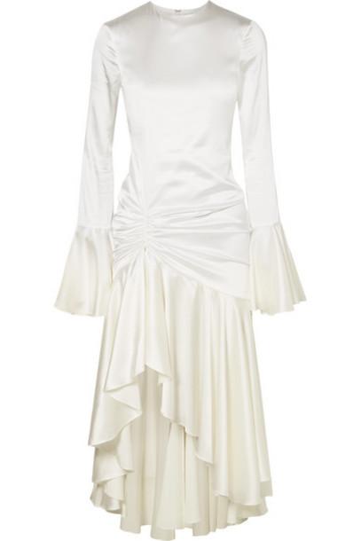 Caroline Constas - Monique Ruched Stretch-silk Satin Gown - White