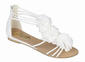 Pretty White Flat Flower Trim Wedding Sandals | Wedding shoes by Perdita's