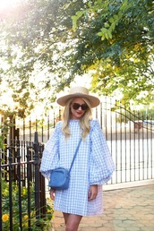 atlantic pacific,blogger,sun hat,straw hat,bell sleeves,blue dress,blue bag,crossbody bag,gucci bag,designer bag,gingham,pattern,patterned dress