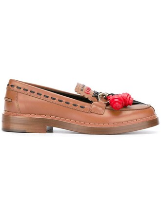 tassel women loafers leather brown shoes