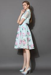 skirt,floral,print,plaid,midi skirt,mint