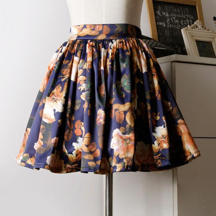 Floral print retro skirt