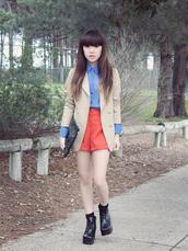 jacket,boyfriend blazer,button down,High waisted shorts