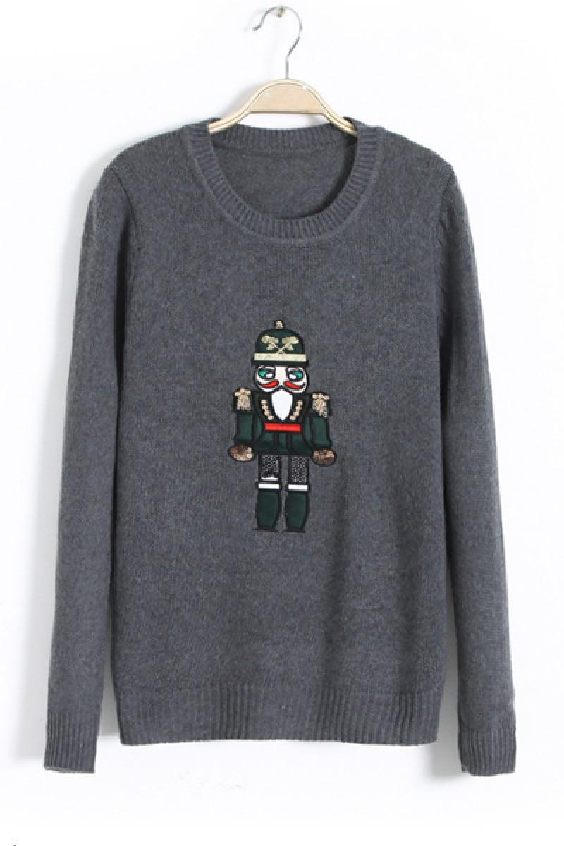 Autumn & Winter New Section Robot Crewneck Long Sleeve Sweater,Cheap in Wendybox.com