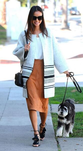 jacket skirt midi skirt fall outfits fall jacket jamie chung blouse blogger