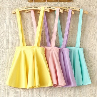 skirt swag girl yellow pink purple blue clothes fashion cute cute skirts skirt with suspenders suspenders girly swag ebony lace ebonylace.storenvy ebonylace-streetfashion