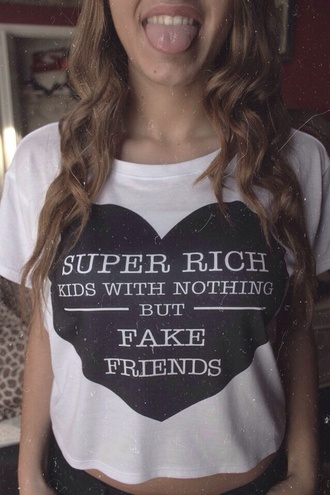 shirt white graphic tee quote on it frank ocean super rich kids with nothing but fake friends white crop tops t-shirt tumblr outfit tumblr shirt fashion cute black white