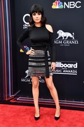 skirt,mini skirt,billboard music awards,mila kunis,pumps,top,asymmetrical,red carpet dress