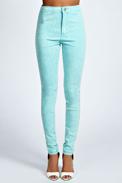 Lilly Acid Wash High Rise Disco Jeans at boohoo.com